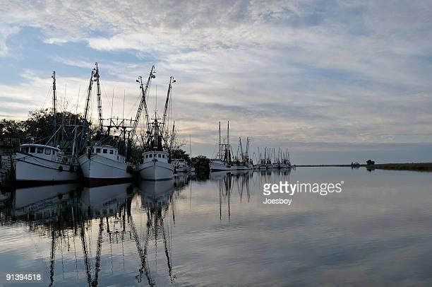 Shrimp Fleet At Dawn Horizontal