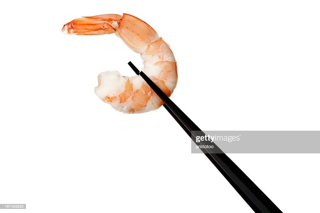 Shrimp Held with Chopsticks on White : Stock Photo