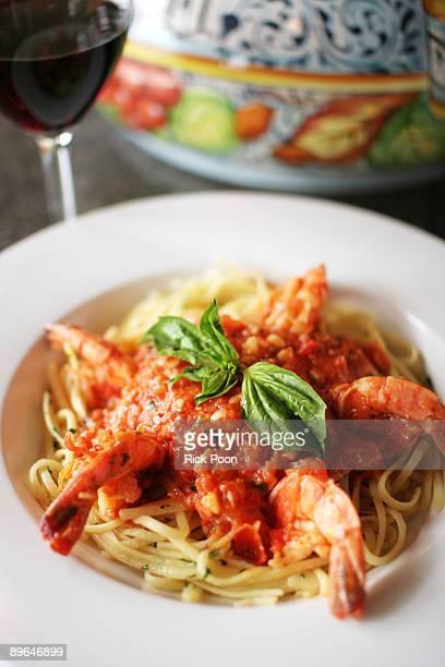 Shrimp linguini with tomato sauce