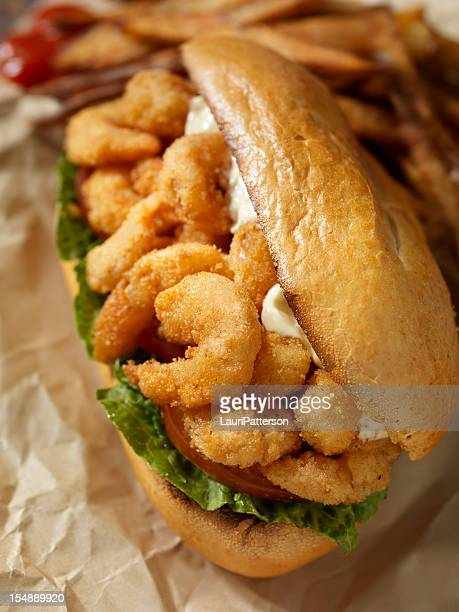 Shrimp Po Boy Sandwich with French Fries