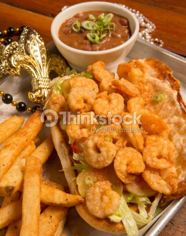 Shrimp PoBoy on Fat Tuesday : Stock Photo