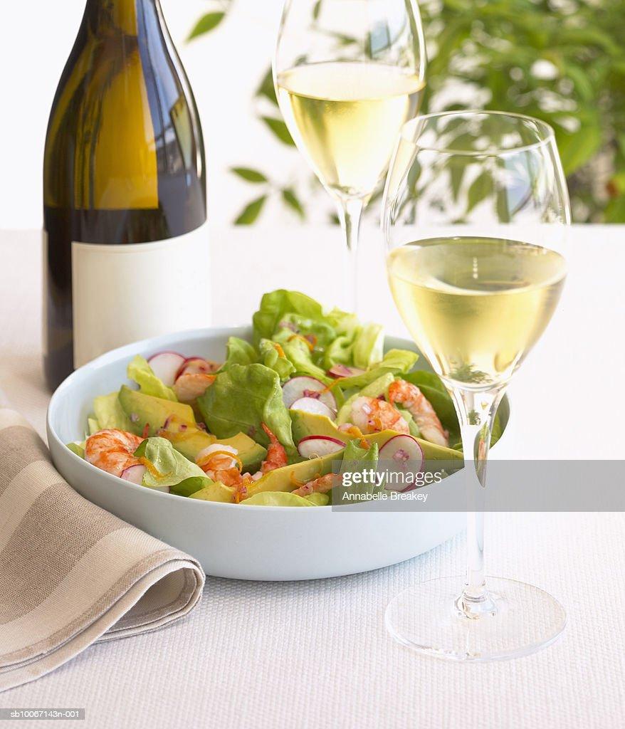 Shrimp salad and white wine : Stock Photo