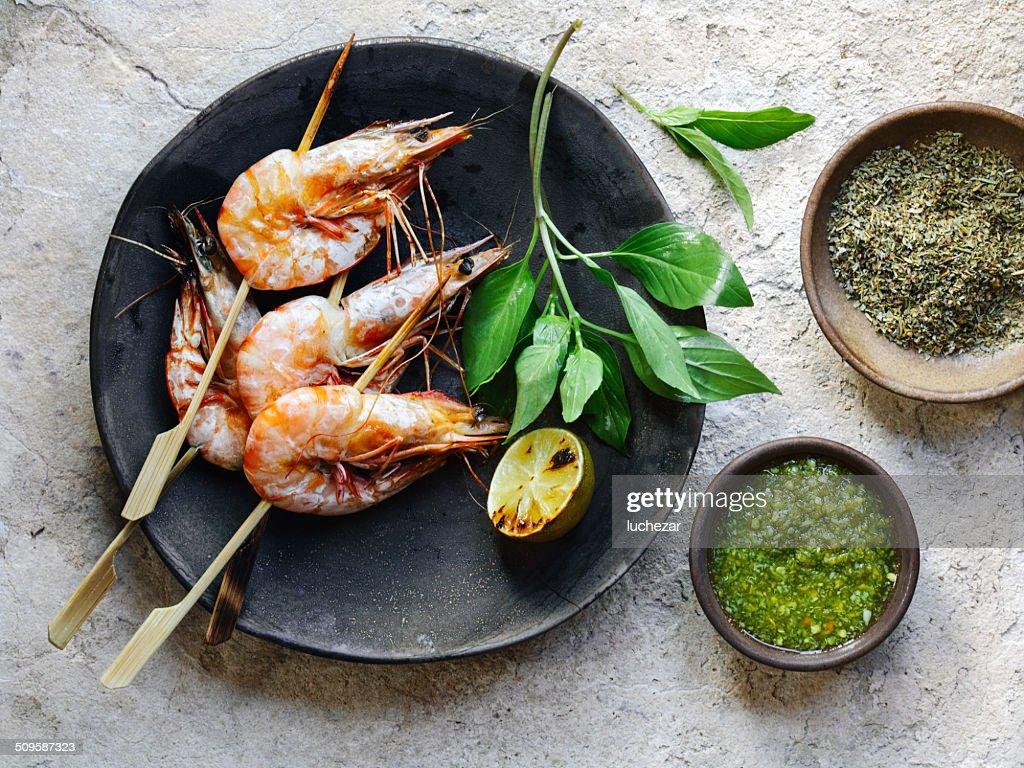 Shrimp satay : Stock Photo