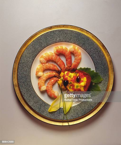 Shrimp with papaya relish