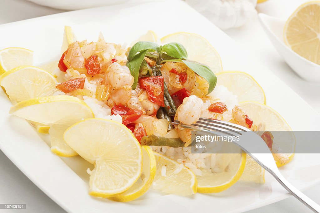 Shrimp with rice : Stockfoto