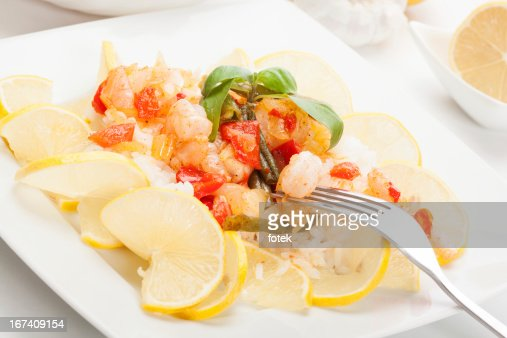Shrimp with rice : Stock Photo