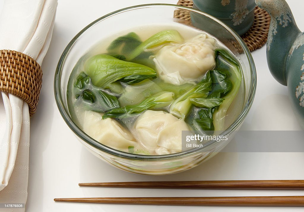 Shrimp Wonton Soup With Baby Bok Choy Stock-Foto | Getty Images