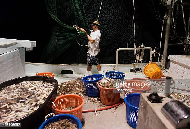 A shrimper ties up the nets after a day's catch on a shrimping boat off the coast of Grand Isle Louisiana US on Wednesday Oct 22 2014 Louisiana...