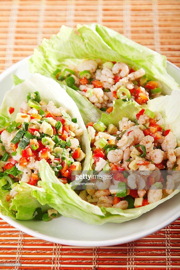 Shrimps salad : Stock Photo
