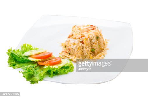 Shrimps with fried rice : Stock Photo
