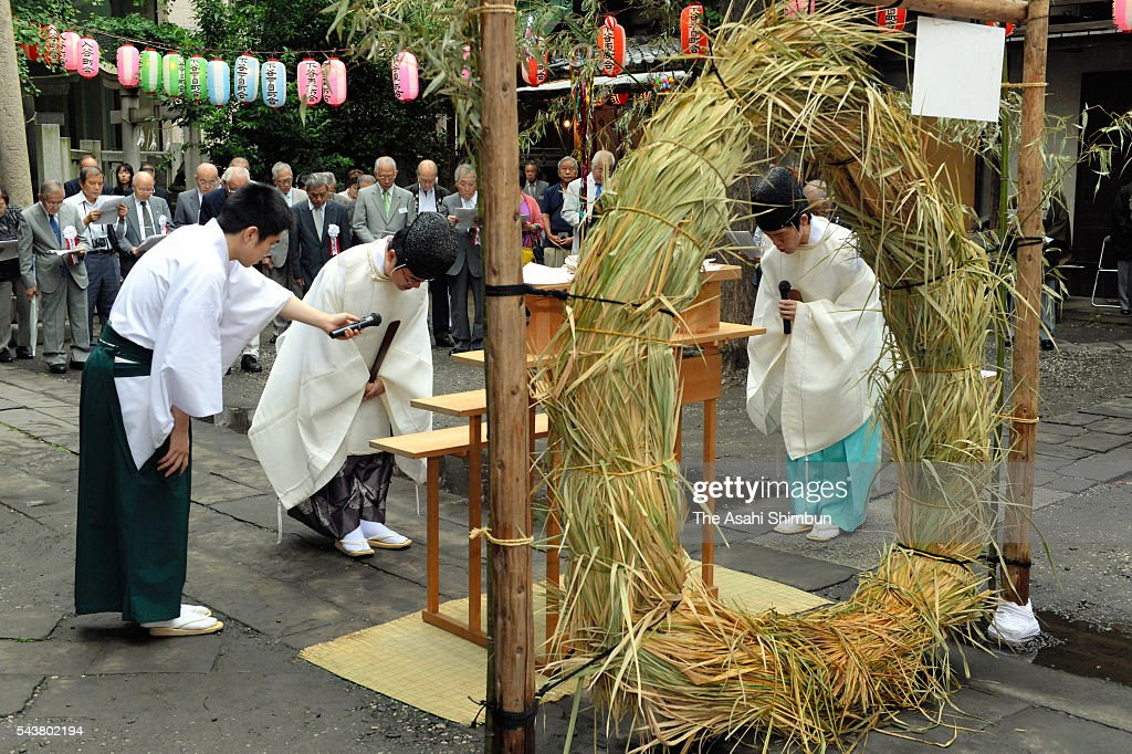 Shrine priests hold a ceremony to open the 5-meter-tall 'Fujizuka', made of rocks of Mount Fuji, ahead of the Mount Fuji opening season during the ceremony at Onoterusaki Jinja Shrine on June 30, 2016 in Tokyo, Japan. 'Fujizuka' is a small mound represent Mount Fuji, which has been regarded as a sacred mountain and an object of worship. In Edo era (1603-1868) many 'Fujizuka' mounds were built for those unable to ascend Mount Fuji.