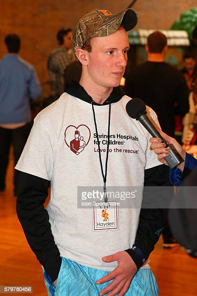 Shriners Hospital Outpatient Hayden Schaumburg gets interviewed at the Shriners Childrens Hospital in Chicago The event brought 19 2015 NFL Draft...