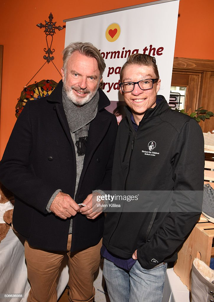 Shriners Hospitals for Children Patient Ambassador Marius Woodward and actor Sam Neill attend the EcoLuxe Lounge at Sundance16 on January 24 2016 in...