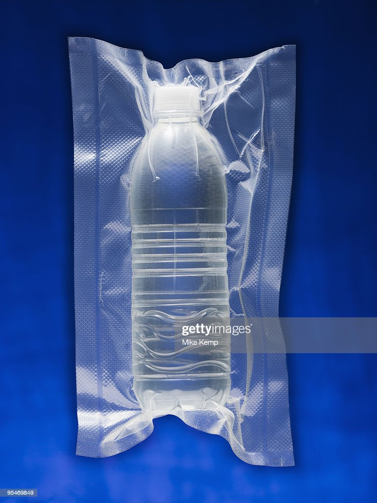 Shrink wrapped water bottle : Stock Photo