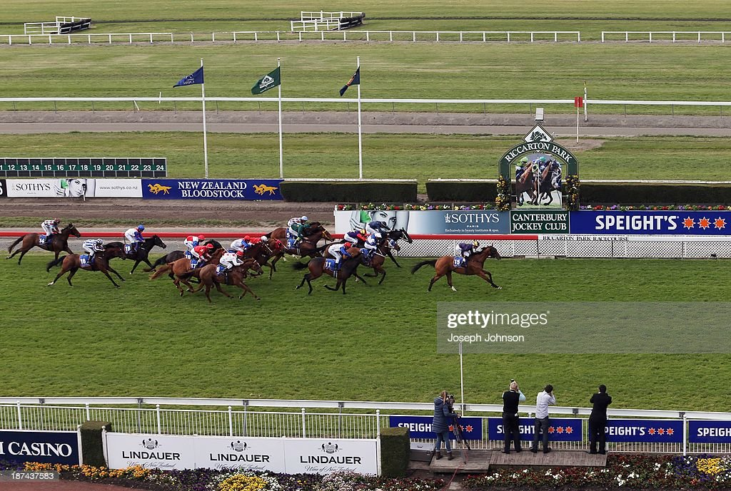 Shroud ridden by Leith Innes wins the Millenium Hotels & Resorts Premier race during New Zealand 2000 Guineas Day on November 9, 2013 in Christchurch, New Zealand.