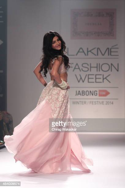 Shruti Haasan showcases designs by Shehlaa during day 4 of Lakme Fashion Week Winter/Festive 2014 at The Palladium Hotel on August 23 2014 in Mumbai...
