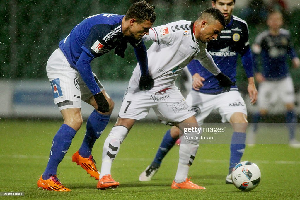 Shtepim Hasani of GIF Sundsvall and Ismael Silva Lima of Kalmar FF competes for the ball during the Allsvenskan match between GIF Sundsvall and Kalmar FF at Norrporten Arena on April 28, 2016 in Sundsvall, Sweden.