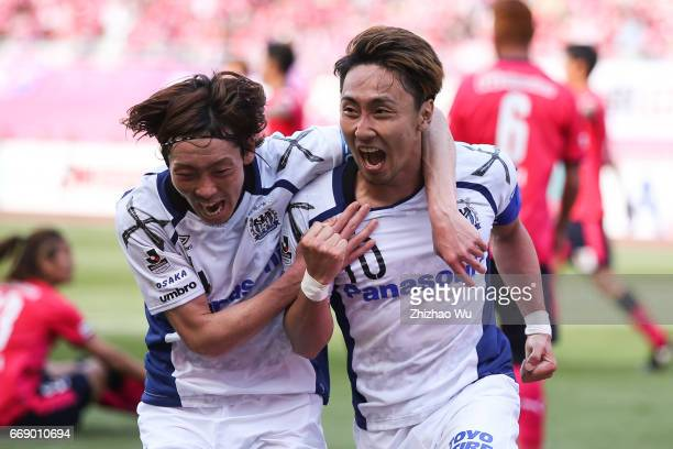 Shu Kurata of Gamba Osaka celebrates his scoring during the JLeague J1 match between Cerezo Osaka and Gamba Osaka at Yanmar Stadium on April 16 2017...