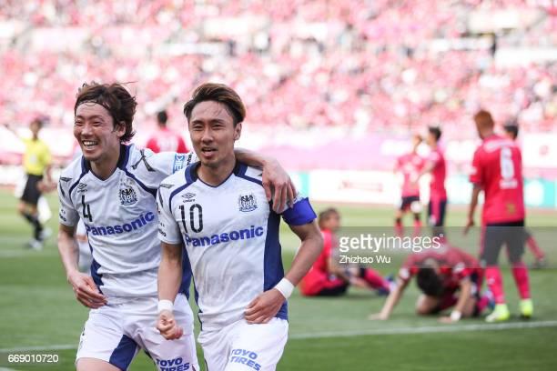 Shu Kurata of Gamba Osaka celebrates his scoring during the JLeague J1 match between Cerezo Osaka and Gamba Osaka at Yanmar Stadium on April 16 2017...