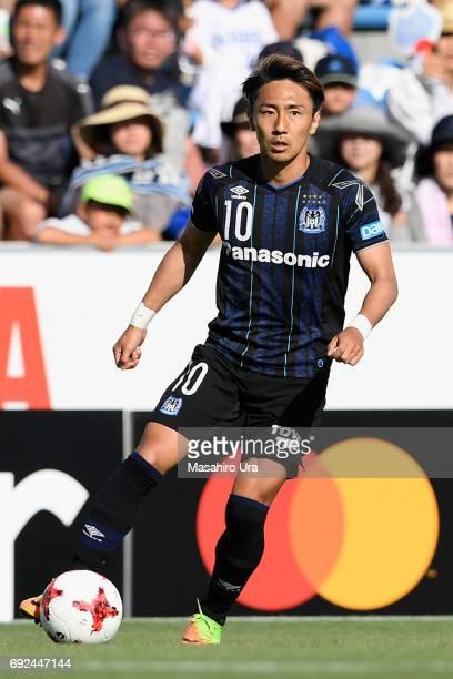 Shu Kurata of Gamba Osaka in action during the JLeague J1 match between Jubilo Iwata and Gamba Osaka at Yamaha Stadium on June 4 2017 in Iwata...