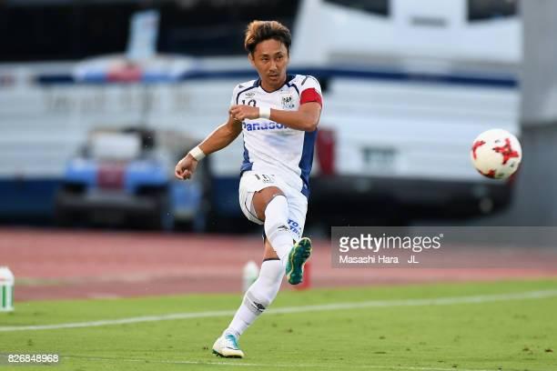 Shu Kurata of Gamba Osaka in action during the JLeague J1 match between Ventforet Kofu and Gamba Osaka at Yamanashi Chuo Bank Stadium on August 5...