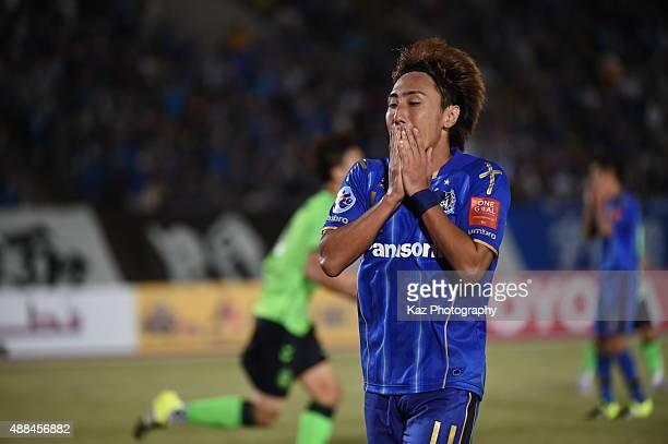 Shu Kurata of Gamba Osaka misses a chance during the AFC Champions League quarter final match between Gamba Osaka and Jeonbuk Hyundai Motors ]at Expo...