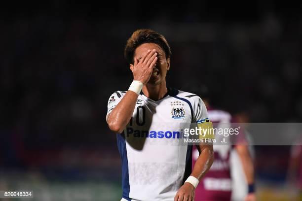 Shu Kurata of Gamba Osaka reacts during the JLeague J1 match between Ventforet Kofu and Gamba Osaka at Yamanashi Chuo Bank Stadium on August 5 2017...