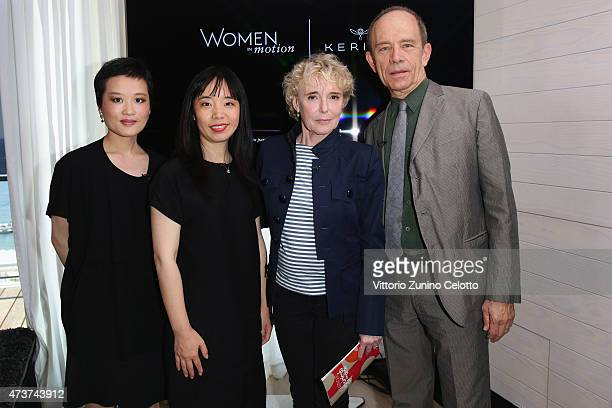 R Shu Liu Ying Liang laire Denis and Todd McCarthy attend Kering Talks 'Women In Motion' at the Kering suite duiring The 68th Annual Cannes Film...