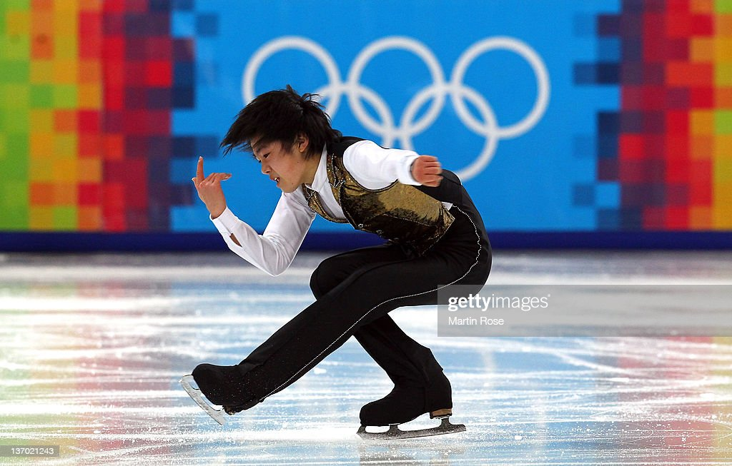 Shu Nakamura of Japan competes during the men's figure skating short program at Olympic Ice Stadium on January 14, 2012 in Innsbruck, Austria.
