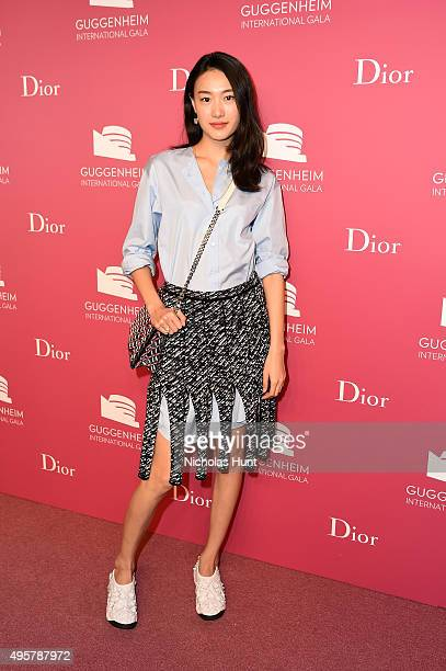 Shu Pei attends the 2015 Guggenheim International Gala PreParty made possible by Dior at Solomon R Guggenheim Museum on November 4 2015 in New York...