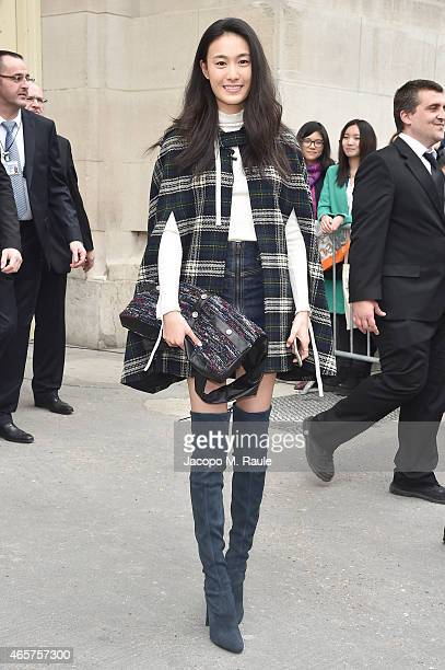 Shu Pei Qin leaves the Chanel show as part of the Paris Fashion Week Womenswear Fall/Winter 2015/2016 on March 10 2015 in Paris France