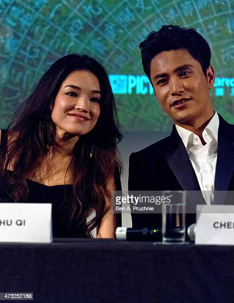 Shu Qi and Chen Kun attend a photocall and Press Conference for 'The Ghouls' during the 68th annual Cannes Film Festival on May 14 2015 in Cannes...