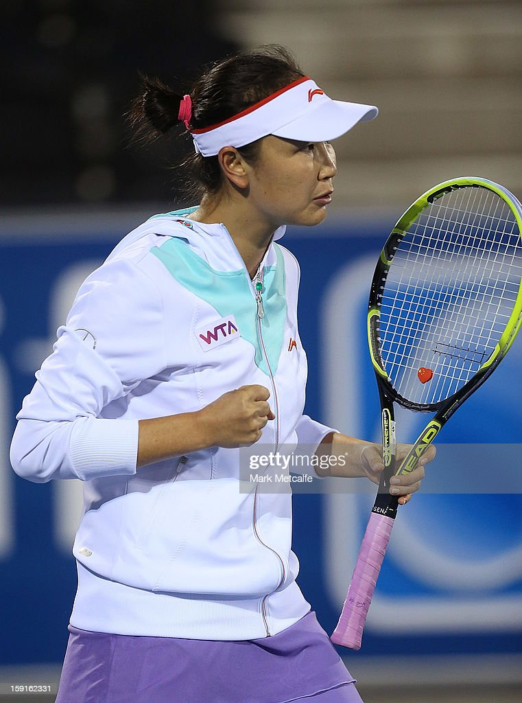 Shuai Peng of China celebrates winning a point in her second round match against Monica Niculescu of Romania during day six of the Hobart International at Domain Tennis Centre on January 9, 2013 in Hobart, Australia.