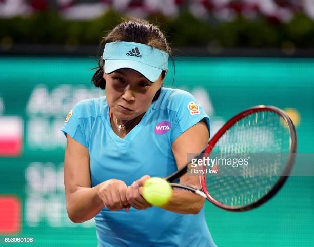 Shuai Peng of China hits a backhand in her win over Agnieska Radwanska of Poland during the BNP Paribas Open at Indian Wells Tennis Garden on March...