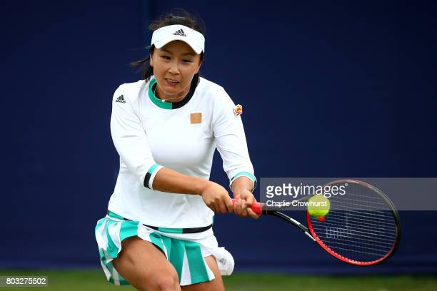 Shuai Peng of China in action during her singles match against Karolina Pliskova of Czech Republic during day five of the Aegon International...
