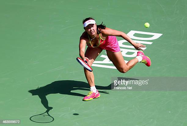 Shuai Peng of China in action in her match against Elena Vesnina of Russia during day two of the WTA Dubai Duty Free Tennis Championship at the Dubai...
