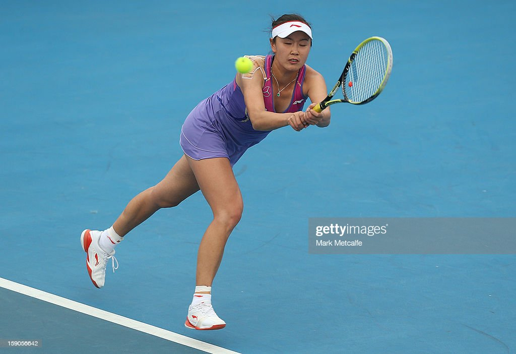 Shuai Peng of China plays a backhand in her first round match against Su-Wei Hsieh of Taipei during day four of the Hobart International at Domain Tennis Centre on January 7, 2013 in Hobart, Australia.