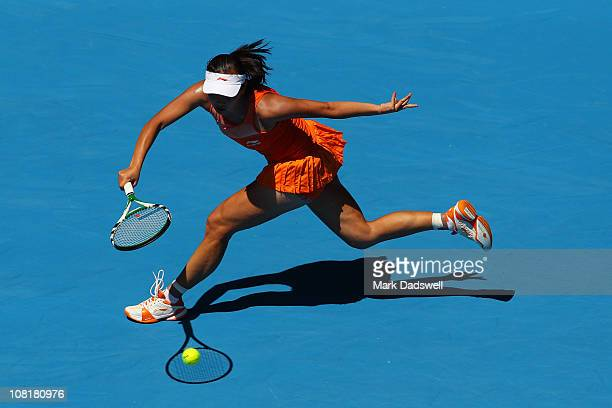 Shuai Peng of China plays a forehand in her second round match against Jelena Jankovic of Serbia during day four of the 2011 Australian Open at...