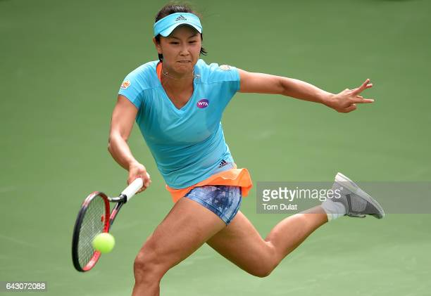 Shuai Peng of China plays forehand during her match against Lesia Tsurenko of Ukraine on day two of the WTA Dubai Duty Free Tennis Championship at...