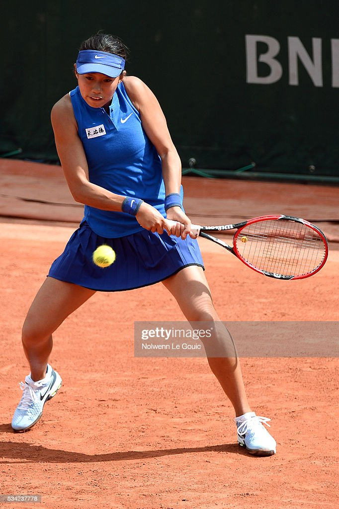 Shuai Zhang during the Women's Singles second round on day four of the French Open 2016 at Roland Garros on May 25, 2016 in Paris, France.