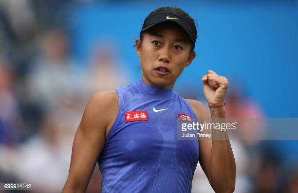 Shuai Zhang of China celebrates a point against Kristina Mladenovic of France during day four of the Aegon Classic at Edgbaston Priory Club on June...