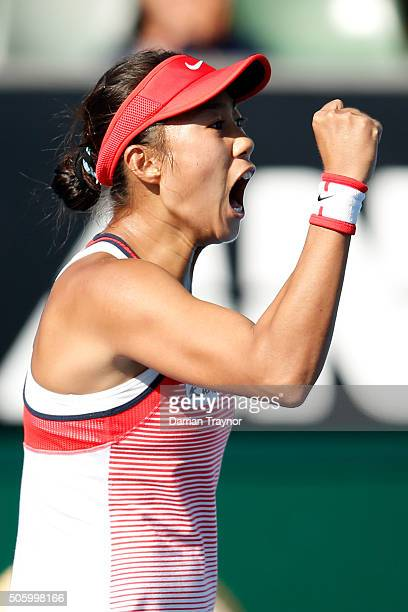 Shuai Zhang of China celebrates a point in her second round match against Alize Cornet of France during day four of the 2016 Australian Open at...