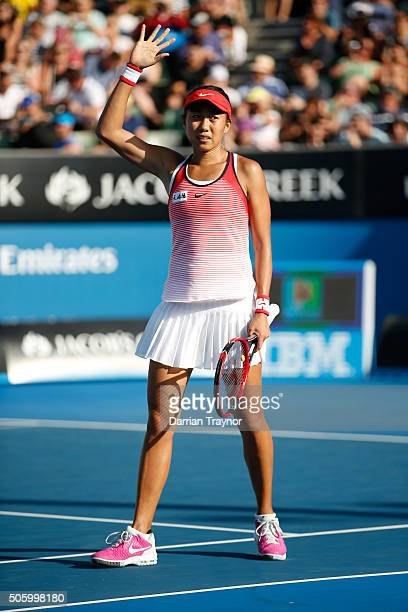 Shuai Zhang of China celebrates winning her second round match against Alize Cornet of France during day four of the 2016 Australian Open at...
