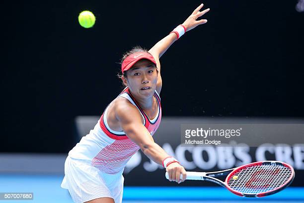Shuai Zhang of China plays a backhand in her quarter final match against Johanna Konta of Great Britain during day 10 of the 2016 Australian Open at...