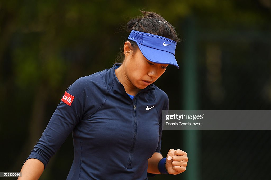 <a gi-track='captionPersonalityLinkClicked' href=/galleries/search?phrase=Ana+Konjuh&family=editorial&specificpeople=10126179 ng-click='$event.stopPropagation()'>Ana Konjuh</a> of Croatis reacts during the Women's Singles first round match against Arina Rodionova of Australia on day three of the 2016 French Open at Roland Garros on May 24, 2016 in Paris, France.