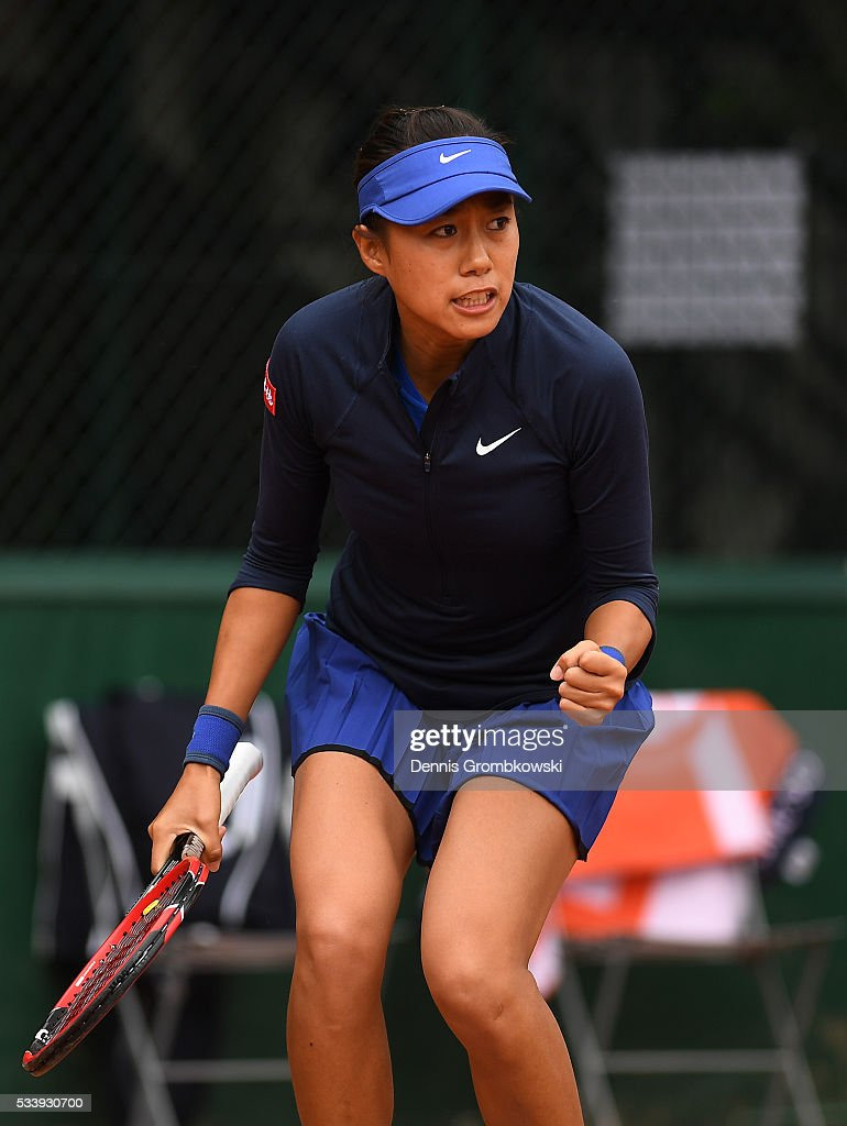<a gi-track='captionPersonalityLinkClicked' href=/galleries/search?phrase=Ana+Konjuh&family=editorial&specificpeople=10126179 ng-click='$event.stopPropagation()'>Ana Konjuh</a> of Croatia reacts during the Women's Singles first round match against Arina Rodionova of Australia on day three of the 2016 French Open at Roland Garros on May 24, 2016 in Paris, France.
