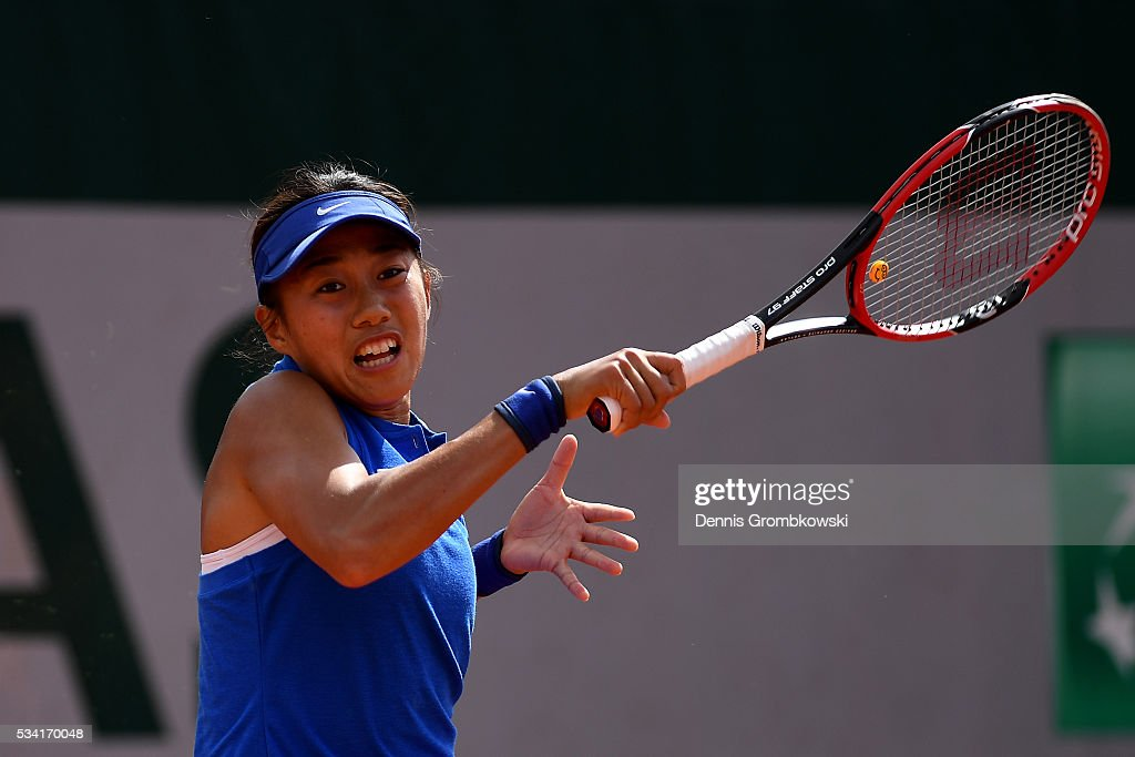 Shuai Zhang of China plays a forehand during the Women's Singles second round match against Samantha Stosur of Australia on day four of the 2016 French Open at Roland Garros on May 25, 2016 in Paris, France.