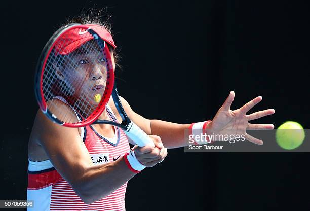 Shuai Zhang of China plays a forehand in her quarter final match against Johanna Konta of Great Britain during day 10 of the 2016 Australian Open at...