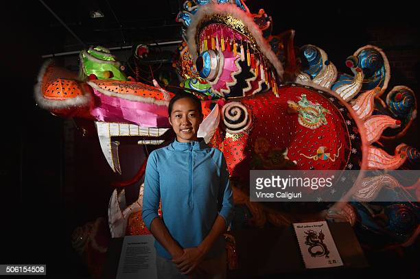 Shuai Zhang of China poses at the Chinese Museum during Day five the 2016 Australian Open at Melbourne Park on January 22 2016 in Melbourne Australia