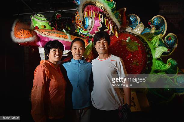 Shuai Zhang of China poses with her mother Fengqin Wang and father Zhuqiang Zhang at the Chinese Museum during Day five the 2016 Australian Open at...